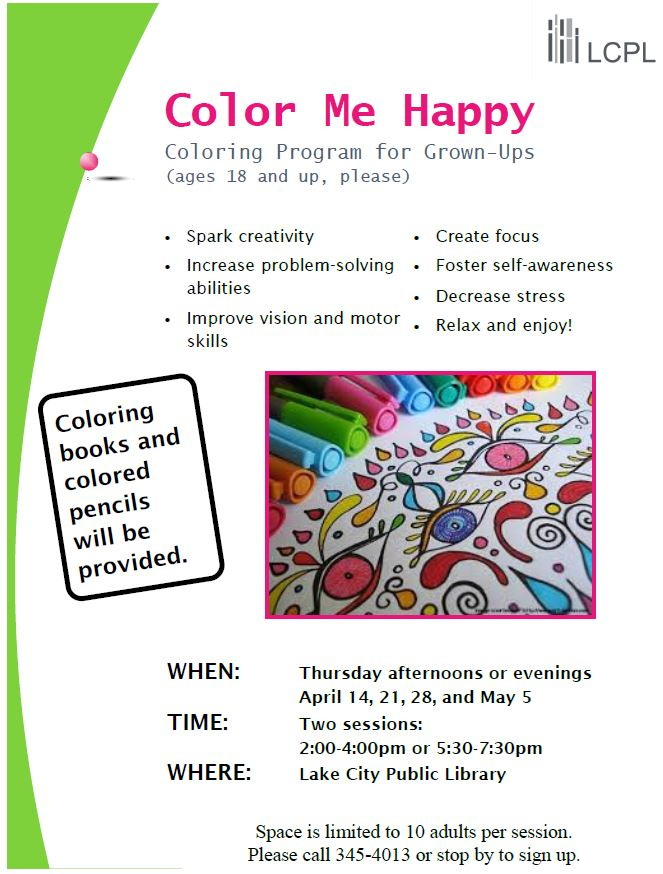 Color me happy adult coloring program lake city public for Flyers coloring pages