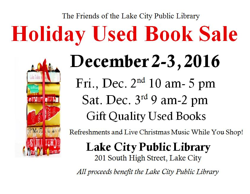 save the date for the friends of the library holiday book sale